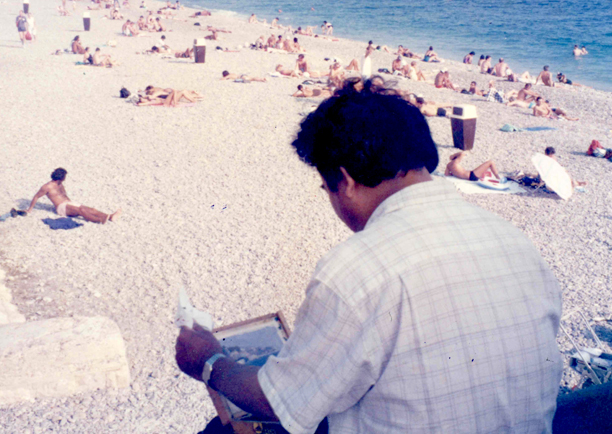 Plein air painting in Nice France 1993