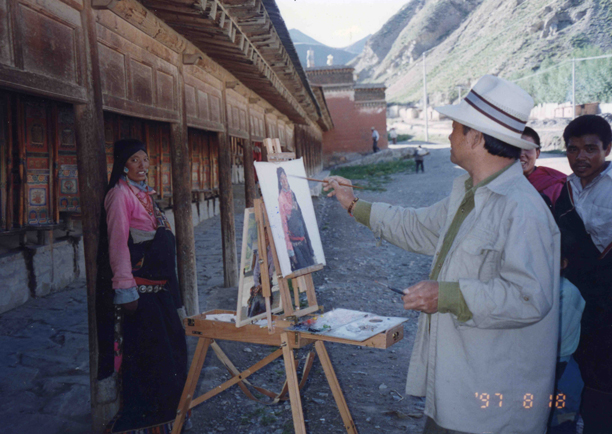 Plein air painting in Tibet 1997