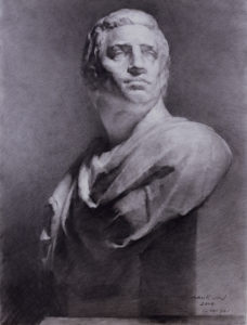 Brutus, classical bust study, Yim Mau-Kun, classical drawing