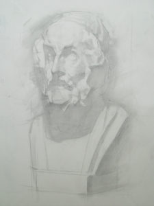 cast drawing, classical bust study, drawing training